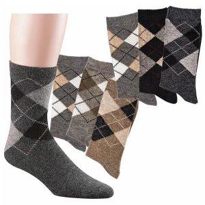4 Paar flauschige Alpaka-Socken im Karo Design gemischte Farben